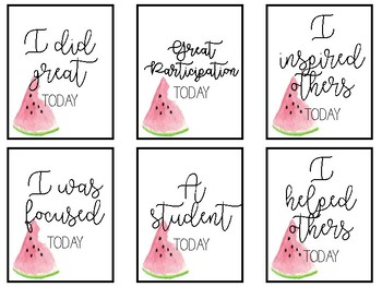 Watermelon Incentive Cards