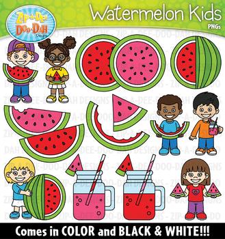 Watermelon Kids Clipart Set {Zip-A-Dee-Doo-Dah Designs}
