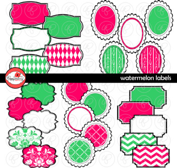 Watermelon Labels and Frames Clipart by Poppydreamz
