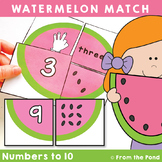Watermelon Match - Math Center Activity Game for Numbers to 10