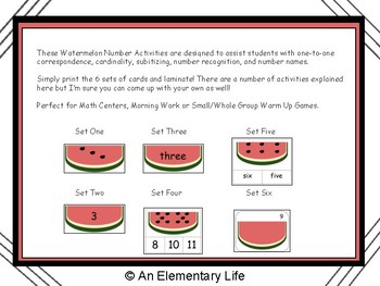 Watermelon Number Games and Activities