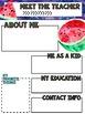 Watermelon Meet the Teacher Newsletter Template EDITABLE