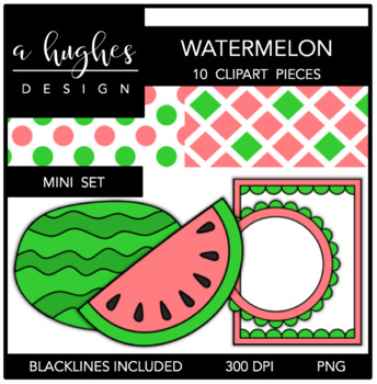 Watermelon Mini Clipart Bundle {A Hughes Design}