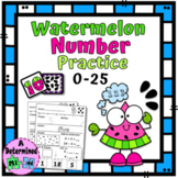Watermelon Number Practice Flashcards (0-25) and No Prep W
