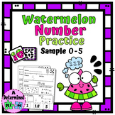 Watermelon Number Practice Flashcards (0-5) and No Prep Wo