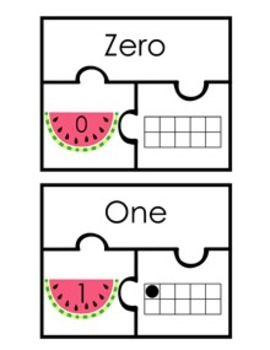 Watermelon Number Puzzles 0-20 ( Number Name, Number, and Ten Frame )