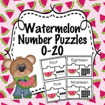Watermelon Number Puzzles 0-20 ( Number Name, Number, and