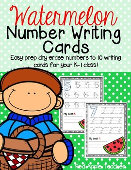 Watermelon Number Writing to 10--Dry Erase Handwriting Cards for Your PK-1 Class