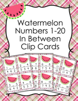 Watermelon Numbers In Between Clip Cards