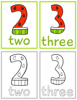 Watermelon Numbers Learning Pack; Kindergarten; Preschool; Homeschool; Math