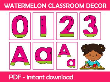 Watermelon Numbers and Letters Flashcards; Kindergarten; Preschool; Homeschool