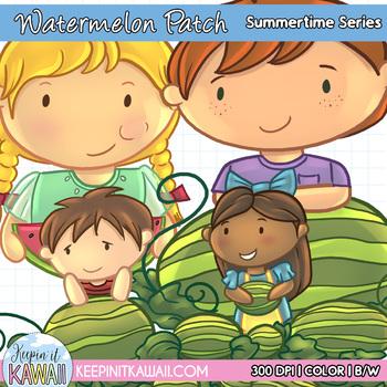 Watermelon Patch Kids Clip Art Mini Set - Summer Clipart - Summertime