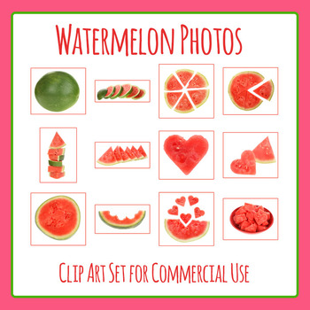Watermelon Photos / Photograph Clip Art Set for Commercial Use