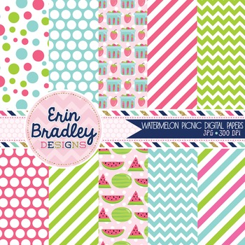 Watermelon Picnic Digital Papers