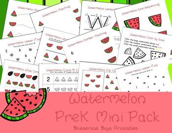 Watermelon PreK Printable Learning Pack Bundle