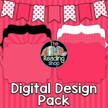 Pink Patterned Digital Papers Frames Banner