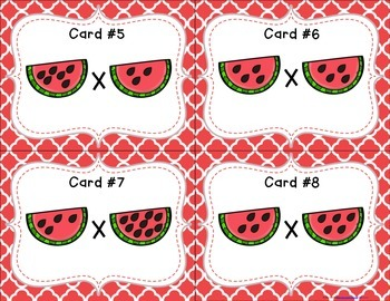 Watermelon Seed Multiplication Task Cards (CC Aligned)