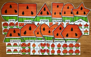 Watermelon Shapes Sorting Mats