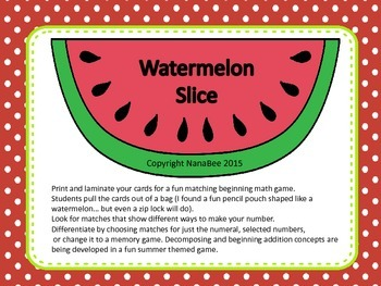 watermelon slice making numbers sorting game by nanabee tpt