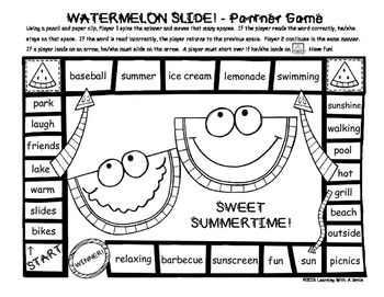 Watermelon Slide! - FREEBIE - Partner Game - Two Versions