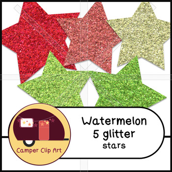 Watermelon Stars Glitter and Solid {CU - ok!} Pinks & Greens