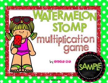 Sample Watermelon Stomp Multiplication Game *FREEBIE!*