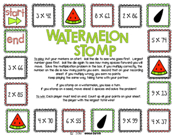 Watermelon Stomp Multiplication Game Packet **Differentiated!**