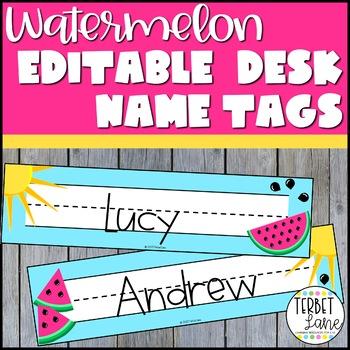 Editable Watermelon Theme Classroom Student Desk Name Plates
