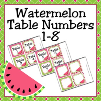 Watermelon Table Numbers