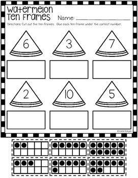Watermelon Ten Frame Puzzles