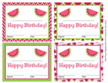 Watermelon Theme Birthday Certificates