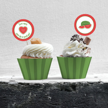 Watermelon Theme Cupcake Wrappers and Toppers for Teacher Appreciation Week