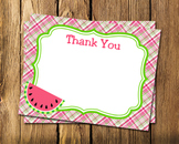 Watermelon Theme Flat Thank You Note Cards