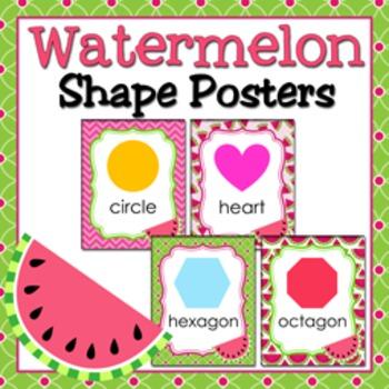 Watermelon Theme Shape Posters