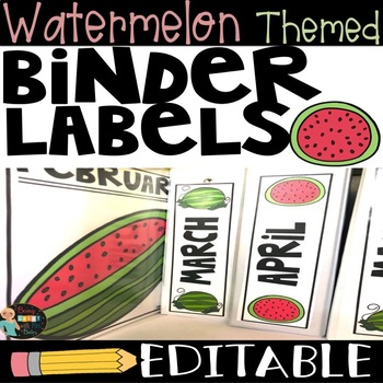 Watermelon Themed Binder Labels EDITABLE