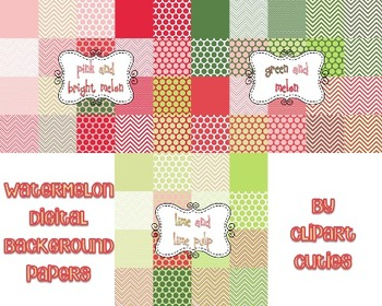 Watermelon Themed Digital Background Paper {pinks and greens}