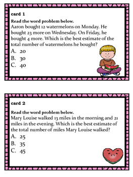 Watermelon Themed Estimating Task Cards for Lower Elementary