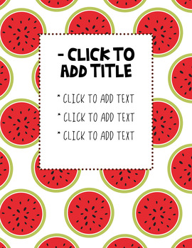 Watermelon Themed Folder Cover Sheets - Editable