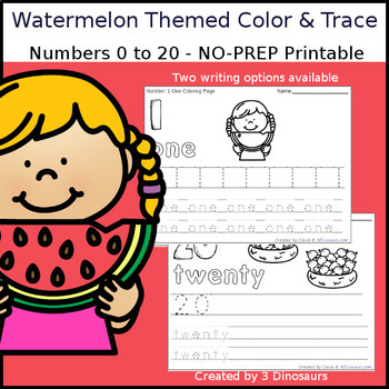 Watermelon Themed Number Color and Trace