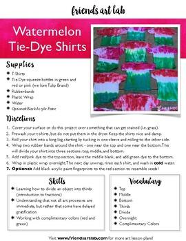 Watermelon Tie Dye Shirts Lesson Plan PDF & Letter to Families