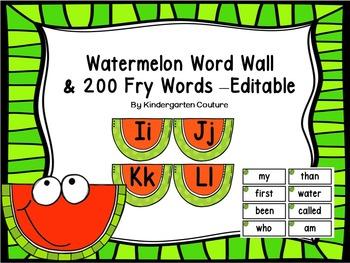 Watermelon Word Wall & 200 Fry Words -Editable