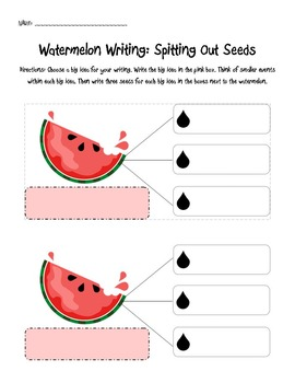 Watermelon Writing Spitting Seeds Activity -- Big Ideas