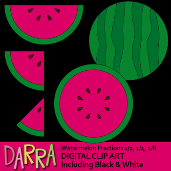 Watermelon clipart, simple fractions 1/2, 1/4, 1/8, math clip art