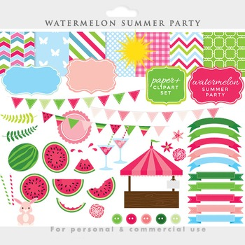 Watermelon clipart - watermelon clip art summer spring fruit frames