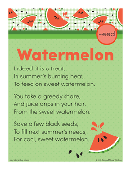 Watermelon - eed Word Family Poem of the Week