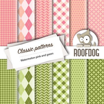 Watermelon pink, green classic patterns—argyle, houndstooth, chevrons, gingham