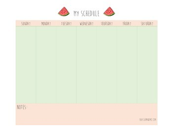Watermelon themed weekly schedule