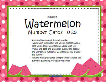Watermelons Mix and Match Number Cards 0-20