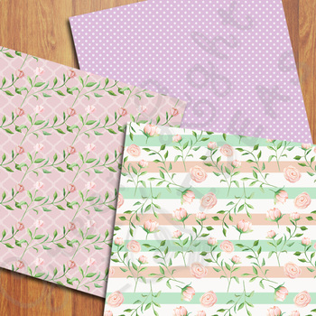 Watercolor Floral Digital Papers / Spring Backgrounds / Watercolor Flowers