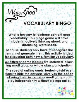 Watershed Vocabulary Bingo